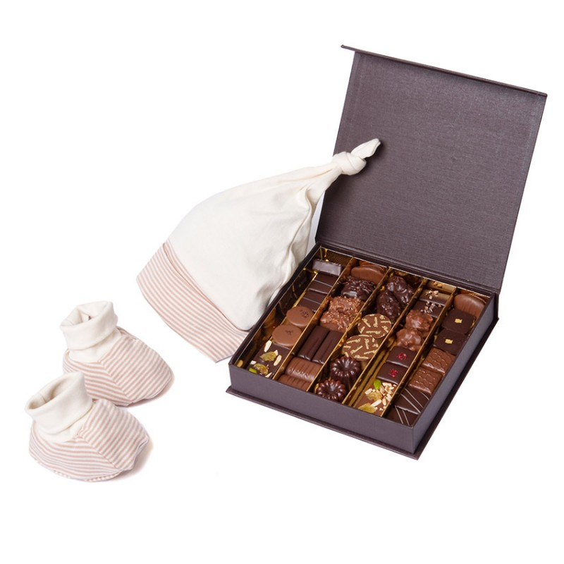 Coffret cadeau de naissance Cadeau autour du chocolat D