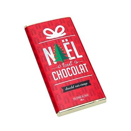 Tablette chocolat de Noël noir et orange