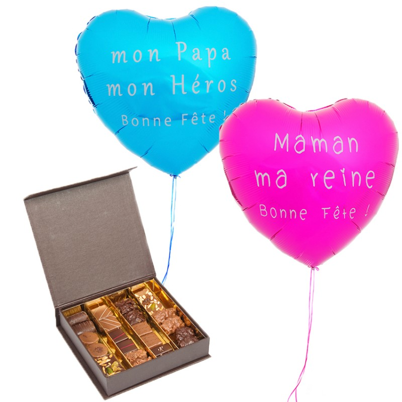 ballon et chocolats cadeau f te des m res et p res d 39 lys. Black Bedroom Furniture Sets. Home Design Ideas
