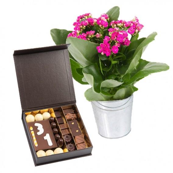 Fleurs et Chocolat Anniversaire personnalisé
