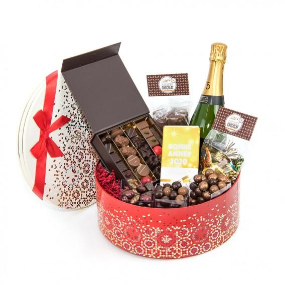 cadeau chocolat noel champagne