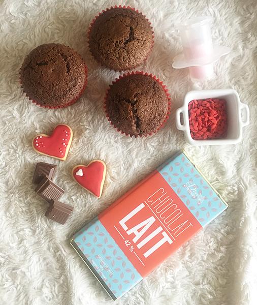 ingrédients cupcakes au chocolat saint valentin