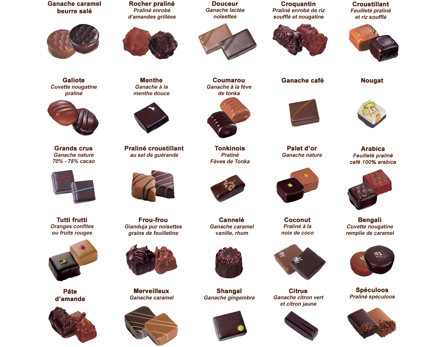 chocolat d'lys couleurs