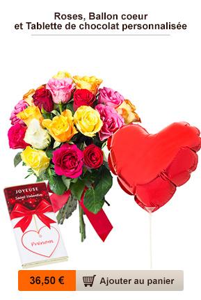 roses, ballon et chocolat personnalisé