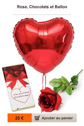 rose, ballon et chocolat personnalisé
